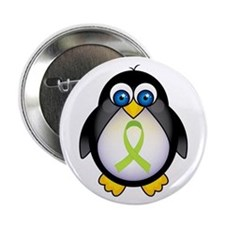 "Penguin Lime Green Ribbon Awareness 2.25"" Button"