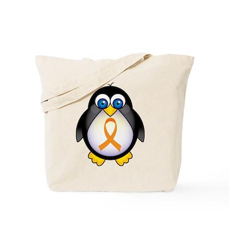 Penguin Orange Ribbon Awareness Tote Bag