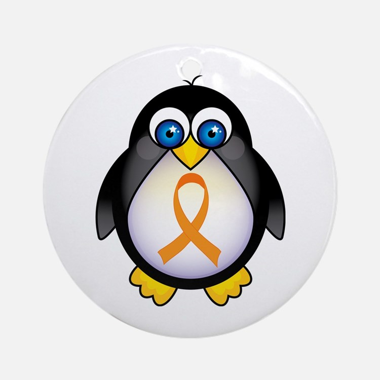 Penguin Orange Ribbon Awareness Ornament (Round)