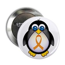 "Penguin Orange Ribbon Awareness 2.25"" Button (10 p"