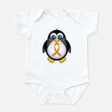Penguin Orange Ribbon Awareness Infant Bodysuit