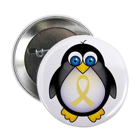 "Penguin Pale Yellow Ribbon Awareness 2.25"" Button"