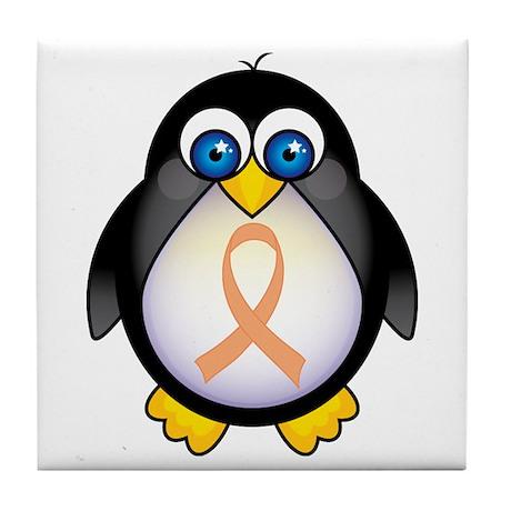 Penguin Peach Ribbon Awareness Tile Coaster