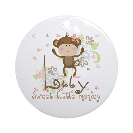 Lily Sweet lil monkey Ornament (Round)