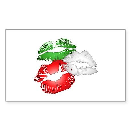 Italian Kissing Lips Sticker (Rectangle)
