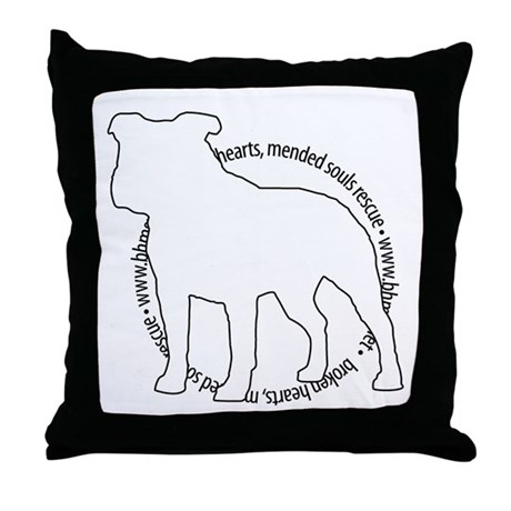 Staffy Outline (BK) - Throw Pillow