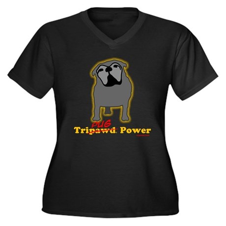 Tri-Pug Power Women's Plus Size V-Neck Dark T-Shir