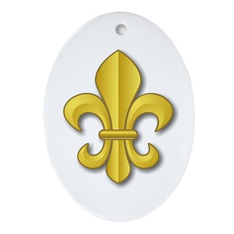 Gold Fleur de Lys Oval Ornament