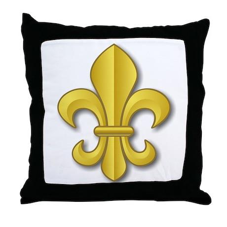 Gold Fleur de Lys Throw Pillow