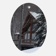 Winter Chalet Ornament (Oval)