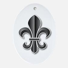 Black Fleur de Lys Oval Ornament