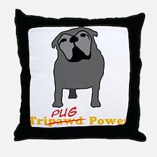 Tri-Pug Power Throw Pillow