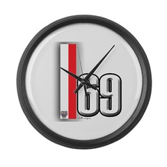 69 Red Whirte Large Wall Clock