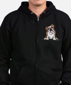 Brown White Bulldog Zip Hoodie