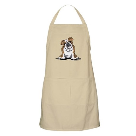 Brown White Bulldog Apron