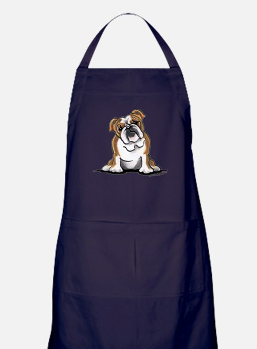 Brown White Bulldog Apron (dark)