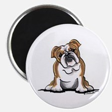 "Brown White Bulldog 2.25"" Magnet (10 pack)"