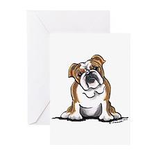Brown White Bulldog Greeting Cards (Pk of 10)