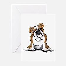 Brown White Bulldog Greeting Cards (Pk of 20)
