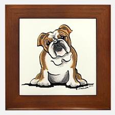 Brown White Bulldog Framed Tile