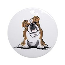 Brown White Bulldog Ornament (Round)