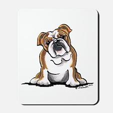Brown White Bulldog Mousepad