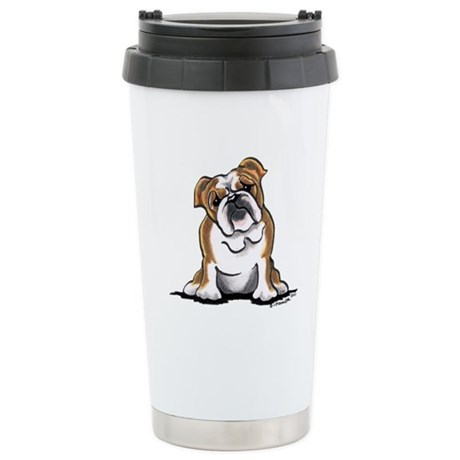 Brown White Bulldog Stainless Steel Travel Mug