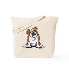 Brown White Bulldog Tote Bag