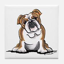 Brown White Bulldog Tile Coaster