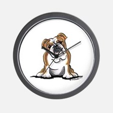 Brown White Bulldog Wall Clock