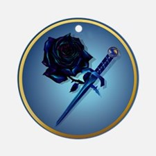 The Black Rose and Dagger Ornament (Round)