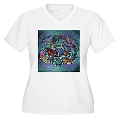 Celtic Dragon Women's Plus Size V-Neck T-Shirt