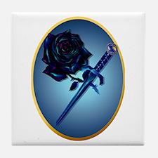 The Black Rose and Dagger Tile Coaster