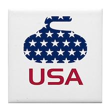 USA curling Tile Coaster