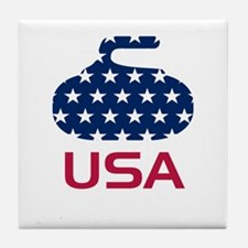 USA curling Tile Coaster