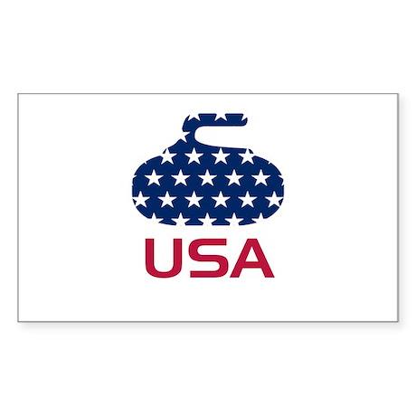 USA curling Sticker (Rectangle)