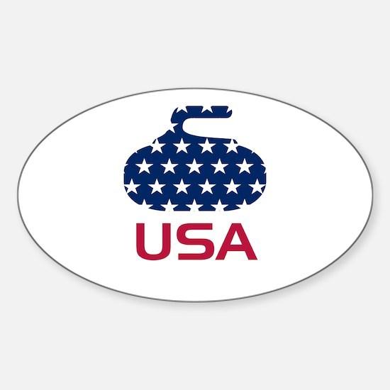 USA curling Sticker (Oval)