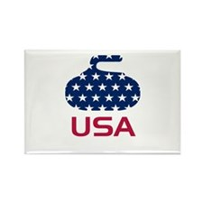 USA curling Rectangle Magnet