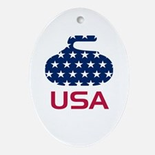 USA curling Ornament (Oval)