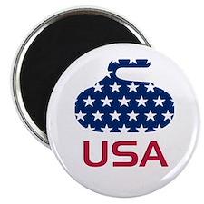 USA curling Magnet