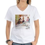 MAD HATTER'S TEA PARTY Women's V-Neck T-Shirt