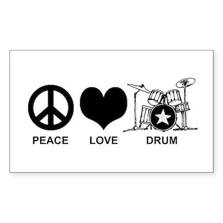 Peace Love Drum Sticker (Rectangle)