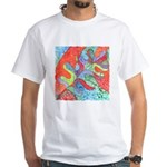 Multicolor Oak Leaf Art White T-Shirt