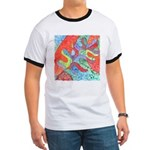Multicolor Oak Leaf Art Ringer T