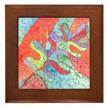 Multicolor Oak Leaf Art Framed Tile