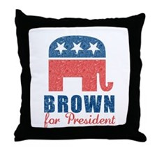 Brown for President Throw Pillow