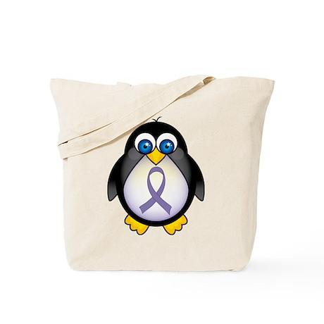 Penguin Periwinkle Ribbon Awareness Tote Bag