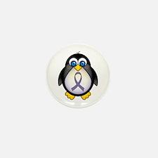 Penguin Periwinkle Ribbon Awareness Mini Button (1