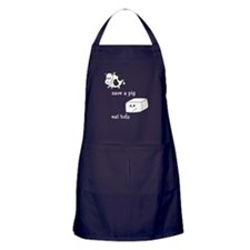 Save a Cow Eat Tofu Apron (dark)