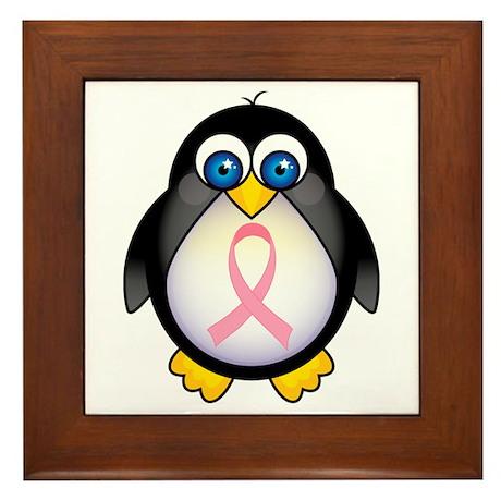 Pink Ribbon Penguin Awareness Framed Tile